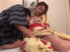 Hottie in a kimono eaten out lustily tubes at lingerie-mania.com