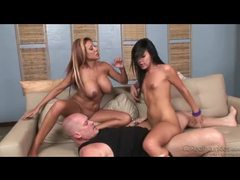 Tight bodied duo in heated threesome movies at sgirls.net