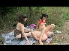 Kinky brunette teen joins mature couple outdoor romp movies at lingerie-mania.com