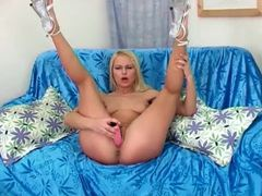 Skinny solo blonde with a pink dildo gets off movies at kilopills.com