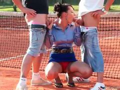 Tennis players blown by babe in satin blouse movies at find-best-mature.com