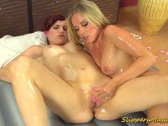 Slippery massage lesbian babes videos