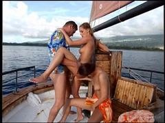 Luscious hotties enjoy sharing cock on a boat videos