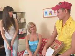 Pizza guy blown by two sexy teens movies at find-best-panties.com