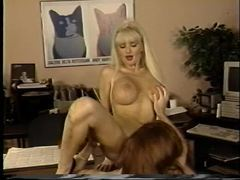 Office sluts eat pussy in retro video movies at freelingerie.us