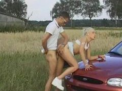 Blonde bent over car laid in her hot cunt videos