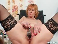 Sexy mature chick in stockings gets an exam movies at lingerie-mania.com