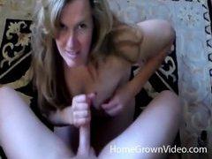 Smiley blonde milf with huge tits milks dick tubes