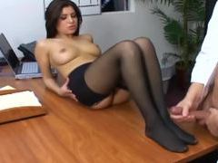 Office sex with a busty secretary in sexy hosiery tubes