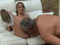 Busty blonde with freckles fucks older man videos