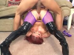 Katja fucking in shiny boots and fishnet pantyhose videos