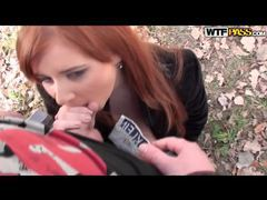Horny redhead blows two guys in the woods movies