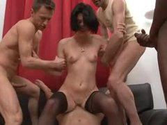 Skinny french girl becomes their gangbang slut movies at sgirls.net