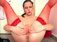 Tall leggy babe masturbates in fishnet stockings movies at freekilomovies.com