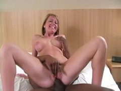 Fake tits blonde goes black in hotel room movies at sgirls.net