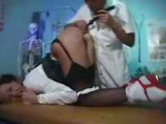 Lesbian nurse toy fucks schoolgirl in heels videos