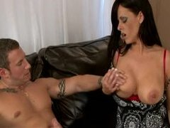 Milf in a lovely dress gives handjob videos