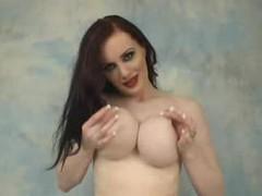 Retro babe in red lipstick sexy striptease tubes