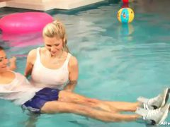 Sexy girls have clothed fun in the pool videos