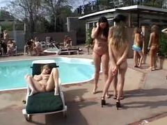 Ladies all squirt on one slut poolside movies at sgirls.net