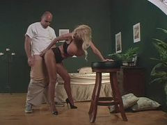 She wears pantyhose and teases him well videos