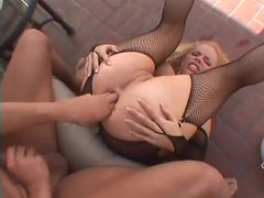 Blonde in slutty fishnet lingerie sex movies at find-best-lesbians.com