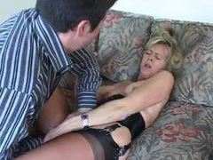 Mature in a hot corset foreplay with her man movies