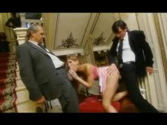 Men in suits bang a babe in a blouse videos