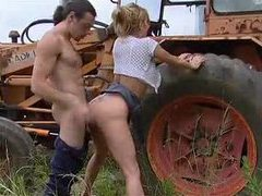 Busty babe gets fucked on a tractor videos