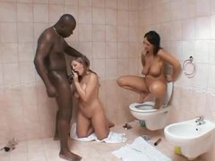 Interracial curvy girl threesome in the bathroom movies at adspics.com