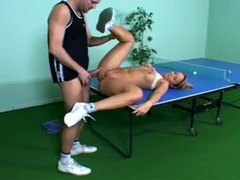 Sporty girl fucked on ping pong table movies at lingerie-mania.com