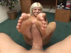 Pov blowjob and footjob with blonde movies at sgirls.net