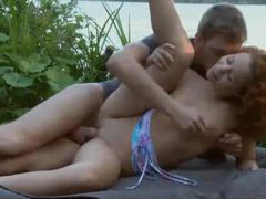 Girl fucked in the grass by the river tubes