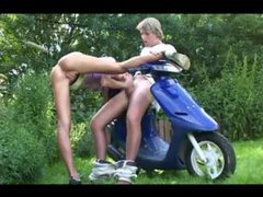 Teen fucked outdoors on a scooter videos