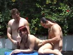 Redhead and four guys fucked outdoors videos