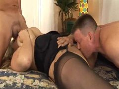 Fat slut in stockings has hardcore threesome videos