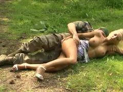 Military man nails blonde bimbo in the woods videos