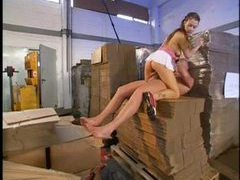 Hot teen takes big cock in a warehouse videos