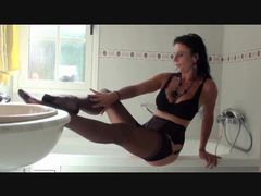 Milf slow striptease from lingerie in bathroom videos