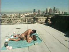 Rooftop fuck on a blanket with a babe videos