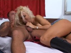 Leather boots blonde shows him a good time videos