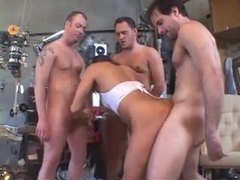 Milf gives it up to three guys at once videos