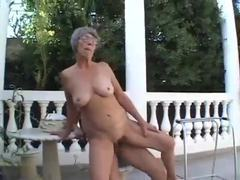 Granny plays with old and young outdoors videos