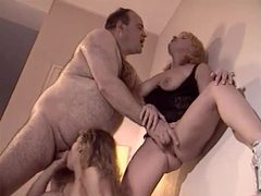 Fat guy with two horny bitches in bed videos