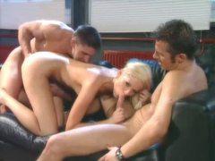 Glamorous hot blonde lets them double penetrate her videos
