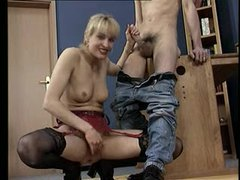 Blonde mom eagerly strokes his shaft videos