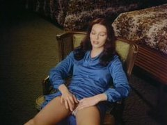Girl in blue dress masturbates in vintage move movies at lingerie-mania.com