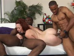 Two black guys fuck a sexy slender redhead videos