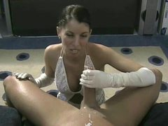 White satin gloves girl gives handjob movies at sgirls.net