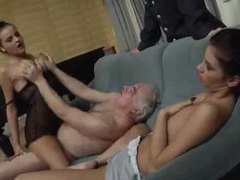 Two ladies let chubby old guy have them movies at find-best-videos.com